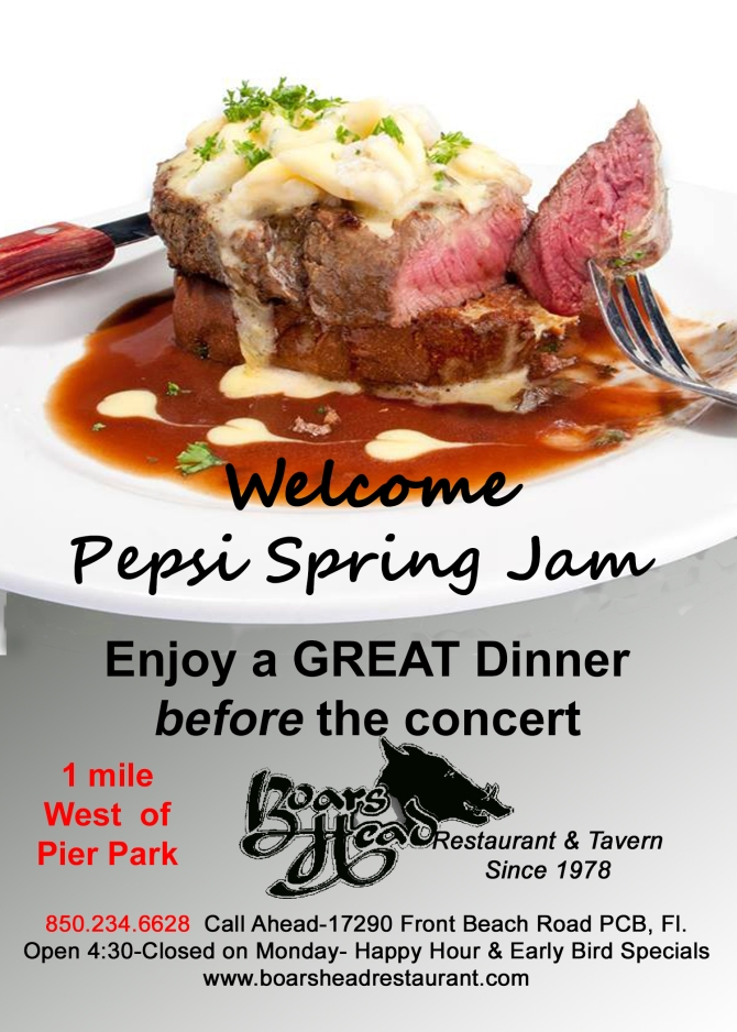 Welcome Pepsi Spring Jam-Great dinner before concert-Boars Head Restaurant PCB