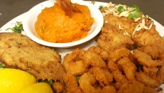 Seafood Fried Grouper Crab & Shrimp with whipped sweet potaroes souflee- Boars Head Restaurant PCB 3