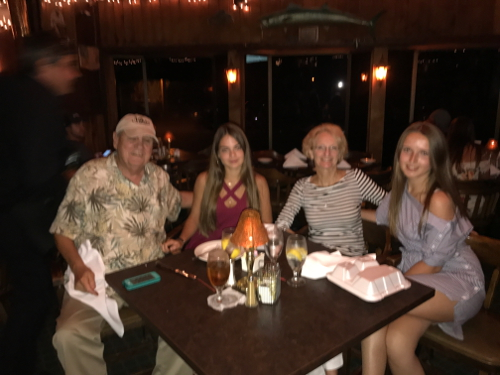 Valerlia-Karyna dining with Tommy Lynn & David Hinson at The Boar's Head Restaurant PCB, FL .